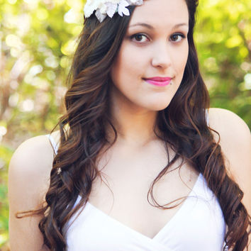 velvet flower headpiece, wedding ivory flower, flower hair wedding