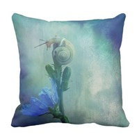 Cute snail nautical shell with mermaid colors throw pillow