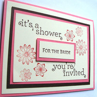 "Wedding Shower Invitations, Set of 10, Pink, Brown and Cream, 5 1/2"" x 4 1/4"""