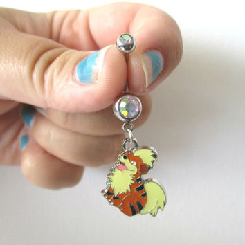 Pokémon  Bellybutton Piercing  - GROWLITHE - Belly iridescent botton jewelry