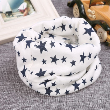 Lovely Kids Baby Girls Boys Cotton Snood Scarf Neckerchief Stars Print Autumn Warm Children Unisex Fashion Scarf Hot Sale