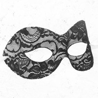 Black & White Lace Masquerade Mask - Lace Covered Venetian Style Masquerade Ball Mask