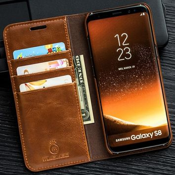 Musubo Luxury phone Case For Galaxy Note 8 flip cover for Samsung S8 Plus S7 Edge S6 Edge Leather Wallet Cases Note 8 S5 S4 S9+