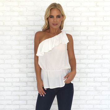 Purity One Shoulder Top in White