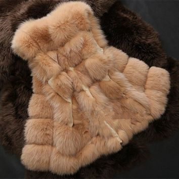 ABYABYGO Fox Fur Vest Winter Warm Women Luxury Faux Fur Vest Xmas Gift Female Warm Furry Coat Waistcoat Outwear Colete Feminino