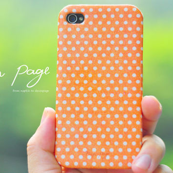 Apple iphone case for iphone iphone 5 iphone 4 iphone 4s iPhone 3Gs : White polka dots on orange background