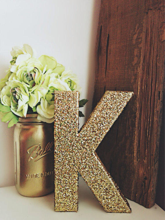 Gold glitter letter gold glitter number from ckweddingcrafts for S letter decoration