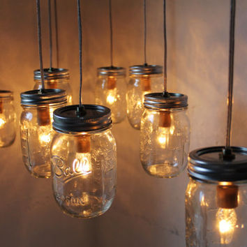 Canopy Mason Jar Chandelier - Mason Jar Light - Large Swag Light - BootsNGus Lamp Design - Hanging Pendant Lighting Fixture