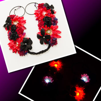 LED Red Black Rave Flower Crown, Electric Daisy Carnival, Fun Fun Fun Fest, Decadence NYE, SnowGlobe Music Festival, Life in Color, PLUR