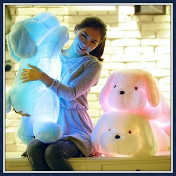 50cm LED Pillows Dog Soft Colorful Cushions Plush Toys Kids Chirstmas Gift (batteries Not Inclued)