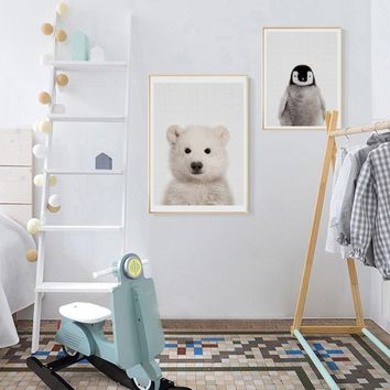 Polar Bear Canvas Painting Nursery Wall Art Penguin Posters and Prints Nordic Lovely Animal Picture for Living Room Home Decor