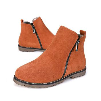 3 Colors Brand New Genuine Leather Women's ankle Boot Cow Suede short boots zipper motorcycle flat Shoes Plus size 35-43