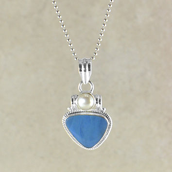 Australian Blue Fire Opal Pendant Necklace in Sterling Silver