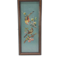 Vintage Framed Bird Needlepoint, Flowering Branches, Cross Stitch, Needlework, Colorful Bird Art, Vintage Wall Decor, Gallery Wall, Dogwood