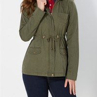 Light Olive Hooded Anorak Jacket