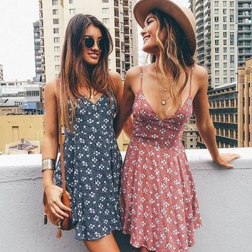 2017 Summer Fashion Sexy Floral Printed Spaghetti Strappy Mini Dress Blue G
