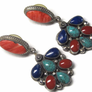 Vintage Navajo Earrings Sterling Dangles Spiny Oyster Turquoise Lapis Coral Mike Davis