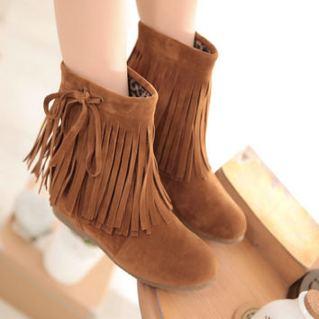 Faux Suede Tassel Ankle Boots Wedges Heels 8377