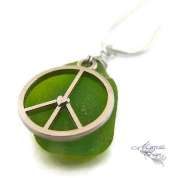Sea Glass Necklace & Peace Sign Charm by MermaidTearsDesigns