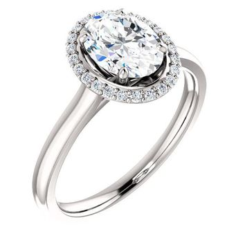 1.25 Ct Oval Halo-styled Diamond Engagement Ring 14k White Gold