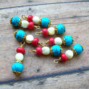 7 Bohemian Bead Drops, Boho Bead Charms, Dangles, Bead Lot