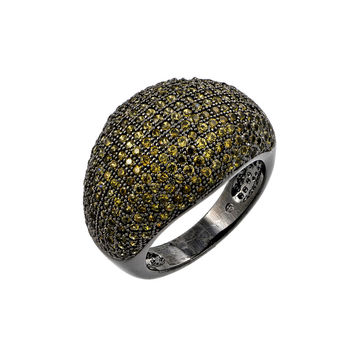 .925 Sterling Silver Oxidized Rhodium Plated Green Micro Pave Set Cubic Zirconia Dome Ring: Size:5