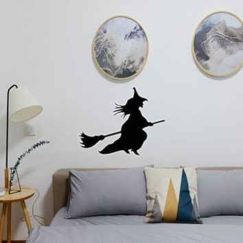 Halloween Witch Riding Broom 10 Vinyl Wall Decal - Removable (Indoor)