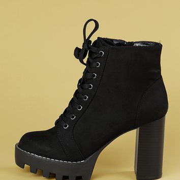 Heeled Lace Up Track Sole Ankle Booties
