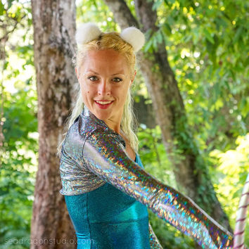 Holographic Bolero | 12 Colors | Burning Man Costume, Festival Clothes, Shrug, Hoop, Performance, Aerial, Rave, EDM, Dance