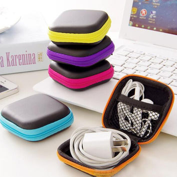 Portable candy colors anti-pressure headphone mini square storage box cell phone charger data cable zipper travel organizer bag Color Random