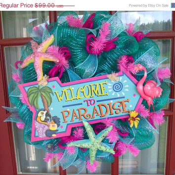 10.00 off Welcome To Paradise Turquoise And Hot Pick Deco Mesh Wreath
