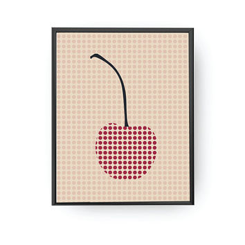 Cherry Dots, Nursery Poster, Baby Art, Cherry Illustration, Kids Decor, Children Education, School Room Art, Nursery Decor, Learning Fruits