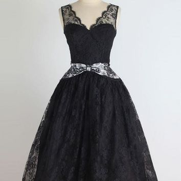 Black Lace Deep V Neck Homecoming Dress