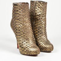 DCCK2 Gold Christian Louboutin Python Leather   Feticha Booty 120   Ankle Boots