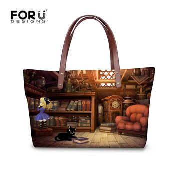 FORUDESIGNS Cartoon Book Shelf Cat Print Women Handbags Vintage Ladies Large Beach Tote Bags,Girls Shopping Casual Messenger Bag