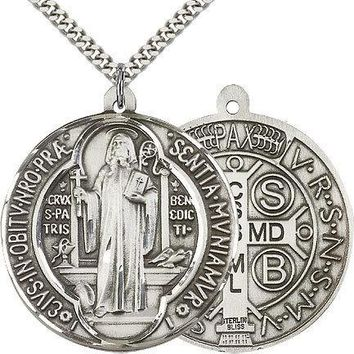 "Saint Benedict Medal For Men - .925 Sterling Silver Necklace On 24"" Chain - 3... 617759872361"