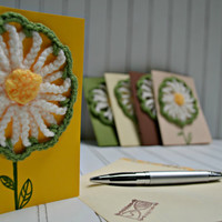 Yellow Crochet Greeting Card with Daisy - Envelope - Gift Card - Flower Card Ready To Mail