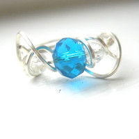 Wire wrapped blue crystal sterling silver spiral ring, womens ring, unique ring, silver ring, bright blue ring, beaded ring, size 8 1/2