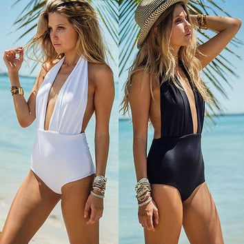 Sexy Women One Piece Black Swimwear Bathing Suit one shoulder Swimsuit Beach Swim Suits High Waist