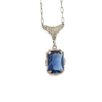 Antique Art Deco Necklace 10k White Gold Filigree 1920s Blue Glass Filigree Pendant Edwardian
