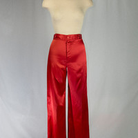 Vintage 70's Red Satin Pants Wide Leg New Old Store Stock