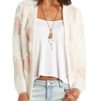 Fuzzy Floral Print Open Front Cardigan - Ivory Combo
