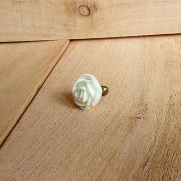 Milk white rose dread bead, dreadlock bead, milk white hair jewelry, hair cuff