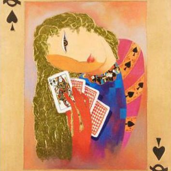 Nordic Queen of Spades - Limited Edition Hand Embellished Giclee on Canvas by Arbe (Ara Berberyan)