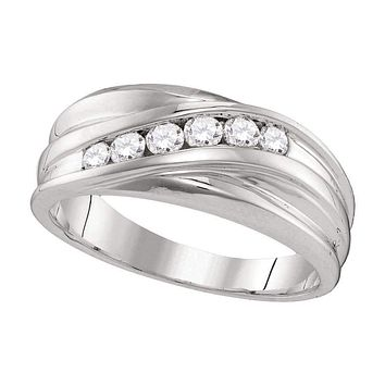 10kt White Gold Men's Round Diamond Wedding Band Ring 1/3 Cttw - FREE Shipping (US/CAN)