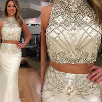 fashion  luxury two piece  long  prom dress 2016 high neck crystal beaded mermaid  women pageant gown for formal evening party
