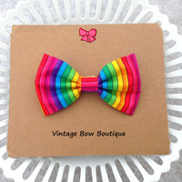 Rainbow stripe bow hair clip - big bow barrette - kawaii - feminine - women - teen - hair bow