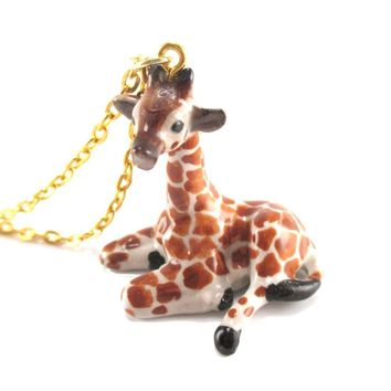 Porcelain Baby Giraffe Shaped Hand Painted Ceramic Animal Pendant Necklace | Handmade
