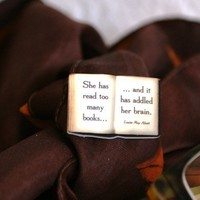 Book lover's brooch reading quote she has read too by bookity