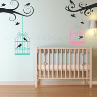 Bird cages on branches wall decal, decal, wall sticker, wall graphic ,vinyl decal for spring